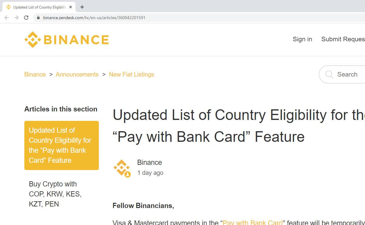 大手取引所バイナンスのクレジットカード仮想通貨購入サービス、一部の国や地域で利用不可に