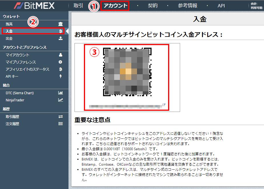 BitMEX入金画面
