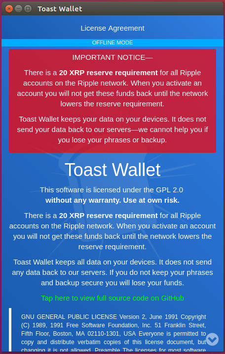 Toast- Walletの注意事項及び利用規約