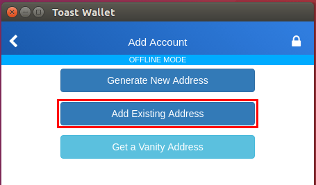 「Add Existing Address」をクリック